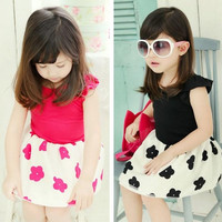 Children's Dresses 2015 Girls Summer Fly sleeve Plum pattern Dress Children Dresses.