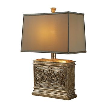 Laurel Run Table Lamp In Courtney Gold With Ria Bronze Shade And Cream Liner