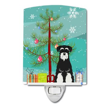 Merry Christmas Tree Standard Schnauzer Salt and Pepper Ceramic Night Light BB4158CNL