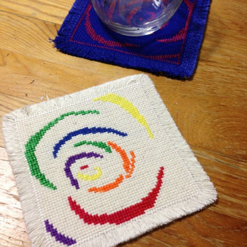 Handmade fabric coasters Happy spirals coasters Embroidery drink coasters