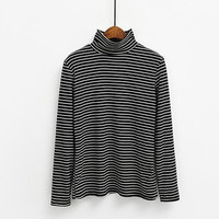 Style  Turtleneck Slim Cotton T-shirt Femme Long Sleeved T Shirts All-match Stripe  tshirt Top 6 Colors Tee