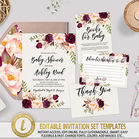 Boho Floral Baby Shower Invitation Template Printable Burgundy Baby Shower Invite Set Editable Invitation & Cards Digital Download TEMPLETT