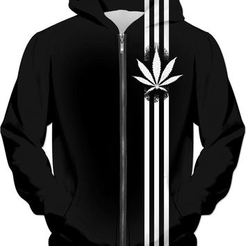 420 Black hoodie, ganja leaf and three stripes, weed, marihujana themed clothing