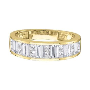 14kt Yellow Gold Women's Princess Baguette Channel-set Diamond Wedding Band 1-2 Cttw - FREE Shipping (US/CAN) - Size 6