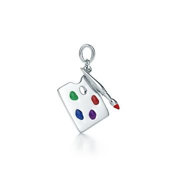 Tiffany & Co. -  Paloma Picasso® painter's palette charm in sterling silver with enamel finish.