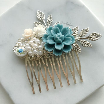 Light Blue Wedding Hair Comb, Dusky Blue, Dove Gray, Bridal Hair Pin, Silver Leaves, Pearls, Rhinestones, Powder Blue, Bridesmaids Gift