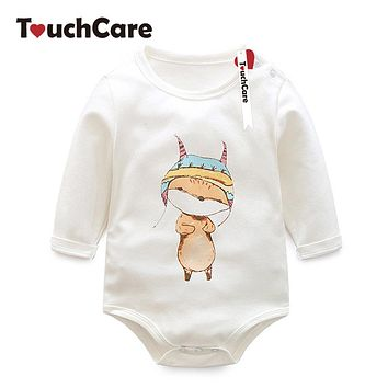 Cute Cartoon Animal Printed Baby Boy Girl Rompers Newborn Long Sleeve Solid Kids Clothes Jumpsuits