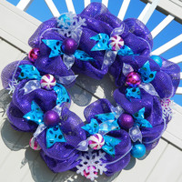 Christmas Wreath - Metallic Purple Deco Mesh - Purple, Pink, Teal - Snow Flake - Holiday  / Birthday Wreath