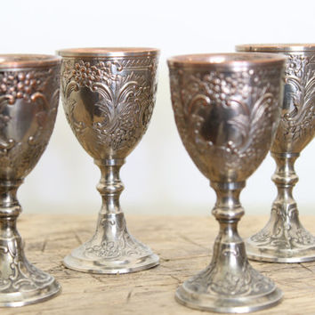 Small Silver Goblets // Antique Mini Goblets with Floral Design // Set of 4 Silver Cups