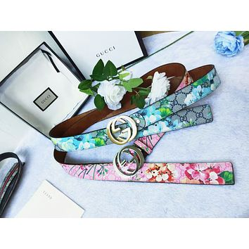 Gucci Fashion New Smooth Buckle Belt Leather Belt Women Men Belt Floral Print Waist Personality Belt