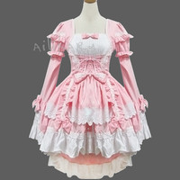 New Pink Lovely barbie gothic Lolita dress bowknot  princess lace sleeve dress Costume made in any size