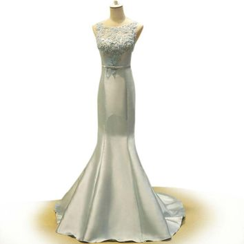 Blue Mermaid Dress Cap Sleeves Pearl Appliques Satin Formal Dresses