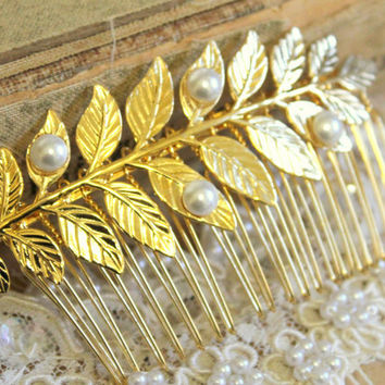 Bridal hair comb - Gold Leaf and pearls Victorian shabby chic vintage style with Swarovski elegant pearls .
