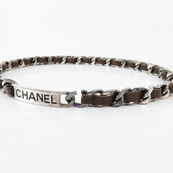 Authentic CHANEL Silvertone and Brown Leather Chain Belt #25684