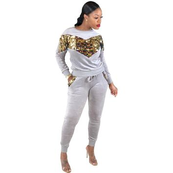 Autumn Women 2 Pieces Set Sequined Patchwork O-neck Long Sleeve Top Long Pants Sexy Slim Tracksuit Two Pieces Set Sporting Wear