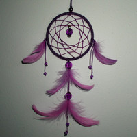 2.8'' Purple Dream Catcher - Wall Hanging Home Decor - Hippie Boho Dreamcatcher - Car Rear View Mirror Ornament