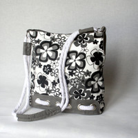Grey Floral Messenger Bag Cotton fabric and Cotton by ZeroBags