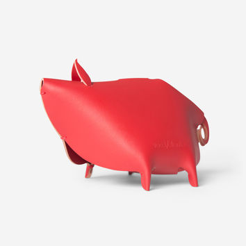Leather Piggy Bank – Red
