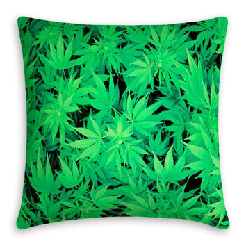 Green Leaf Cotton Throw  Pillow Cover B0013556
