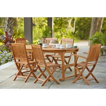 Hampton Bay, Adelaide Eucalyptus 7-Piece Patio Dining Set, SETT1738+C1729 at The Home Depot - Tablet