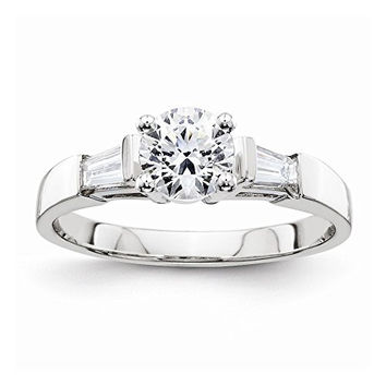 14k White Gold Peg Set Baguette Diamond Engagement Ring Mounting, Peg Set Head Can Fit Any Size Stone