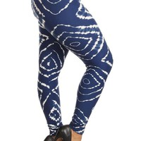 Women's Tie-Dye Leggings Blue/White: OS/PLUS