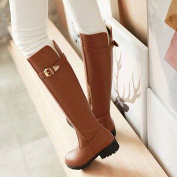 On Sale Hot Deal Knee-length Leather With Heel Zippers Plus Size Boots [6366199556]
