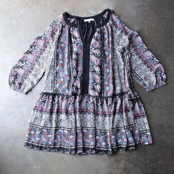 boho cold shoulder babydoll dress in paisley print [womens contemporary]