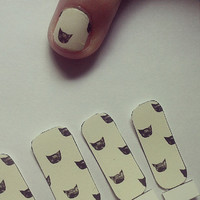 Taupe Cat Pattern Nail Decals