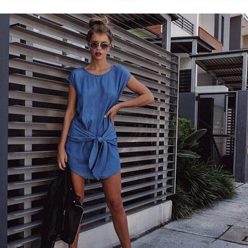 Lace Up Denim Scoop Short Sleeves Loose Mid-Calf Dress