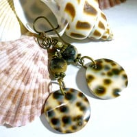 Natural Tiger Cowrie and Jasper Niobium Brass Handmade Dangle Earrings