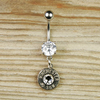 Nickel Bullet Dangle Belly Button Ring by BulletDesigns on Etsy