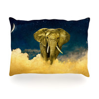 "Nick Atkinson ""Celestial Elephant"" Black Blue Oblong Pillow"