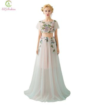 New Luxury High-end Evening Dress Light Green Two Pieces Fresh Flower Fairy Sweet Beading Prom Party Gown Custom