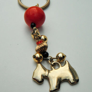 Dog Keychain, Red Keychain, Gold Bead Keychain, Chunky Bead Keychain, Scottish Terrier, Gift Idea, Handbag Charm, Recycled Jewelry, Key Ring