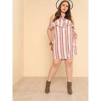 Plus Size Multicolor Striped Off Shoulder Frill Detail Dress With Side Pockets