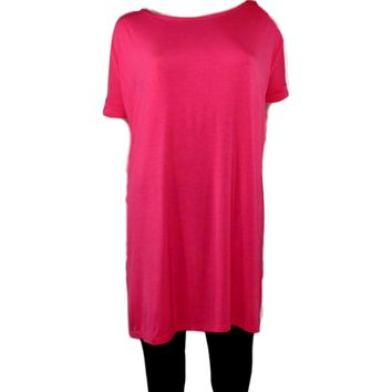 Authentic Piko Short Sleeve Tunic, Hot Pink