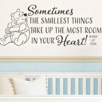 Winnie The Pooh Sometimes The Smallest Things Vinyl Wall Decal Sticker