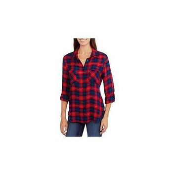 Brooke Leigh Women's Plaid Boyfriend Flannel Shirt, Xxl, Red/Navy/Green Plaid