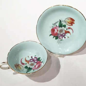 Paragon Fine Bone China Teacup Set, Teal Blue Floral Teacup and Saucer