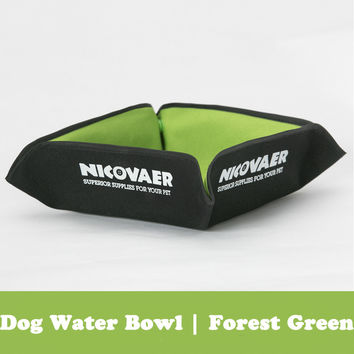 Portable Dog Outdoor Water Bowl (Forest Green)