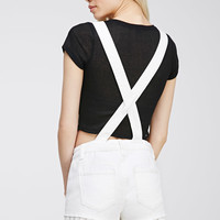 Crochet-Trimmed Overall Shorts