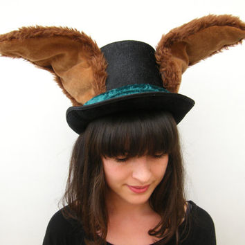 Rabbit Top Hat - March Hare Wired Furry Ears - Alice in Wonderland - Animal Festival Costume