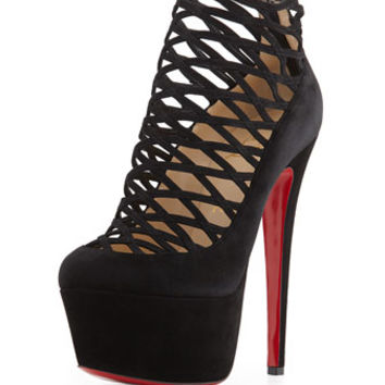Christian Louboutin Milleo Suede Lattice Red Sole Pump, Black