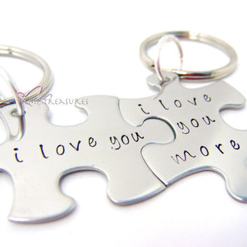 I love you, I love you more, Couples Keychains, Puzzle Piece Keychains, Couples Gift, Valentines Gift