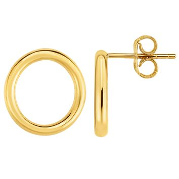 14K Gold Yellow Open Circle O Style Stud Earrings