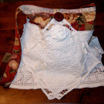 Cross Body Bag Boho Bag Shabby Chic Purse Pearl Lace Fabric Handbag Magnolia Flora
