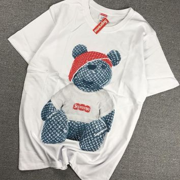 """Supreme x Louis Vuitton"" Unisex Fashion Cartoon Bear Pattern Print Couple Short Sleeve T-shirt Top Tee"