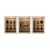 Set 3 Prints, Rustic Kitchen Art Print 'Eat', Fork Spoon Knife Art, Faux Wood 'Look' Set of Three Typography, Kitchen Decor, Wall Decor *35*
