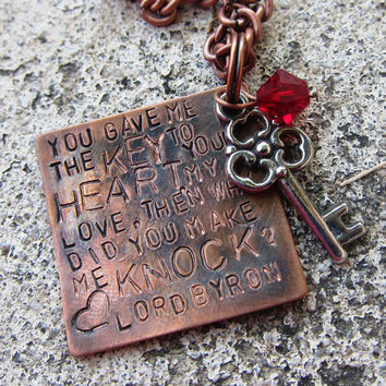 Lord Byron Quote  Key to my Heart  Hand by DesignByAnyOtherName